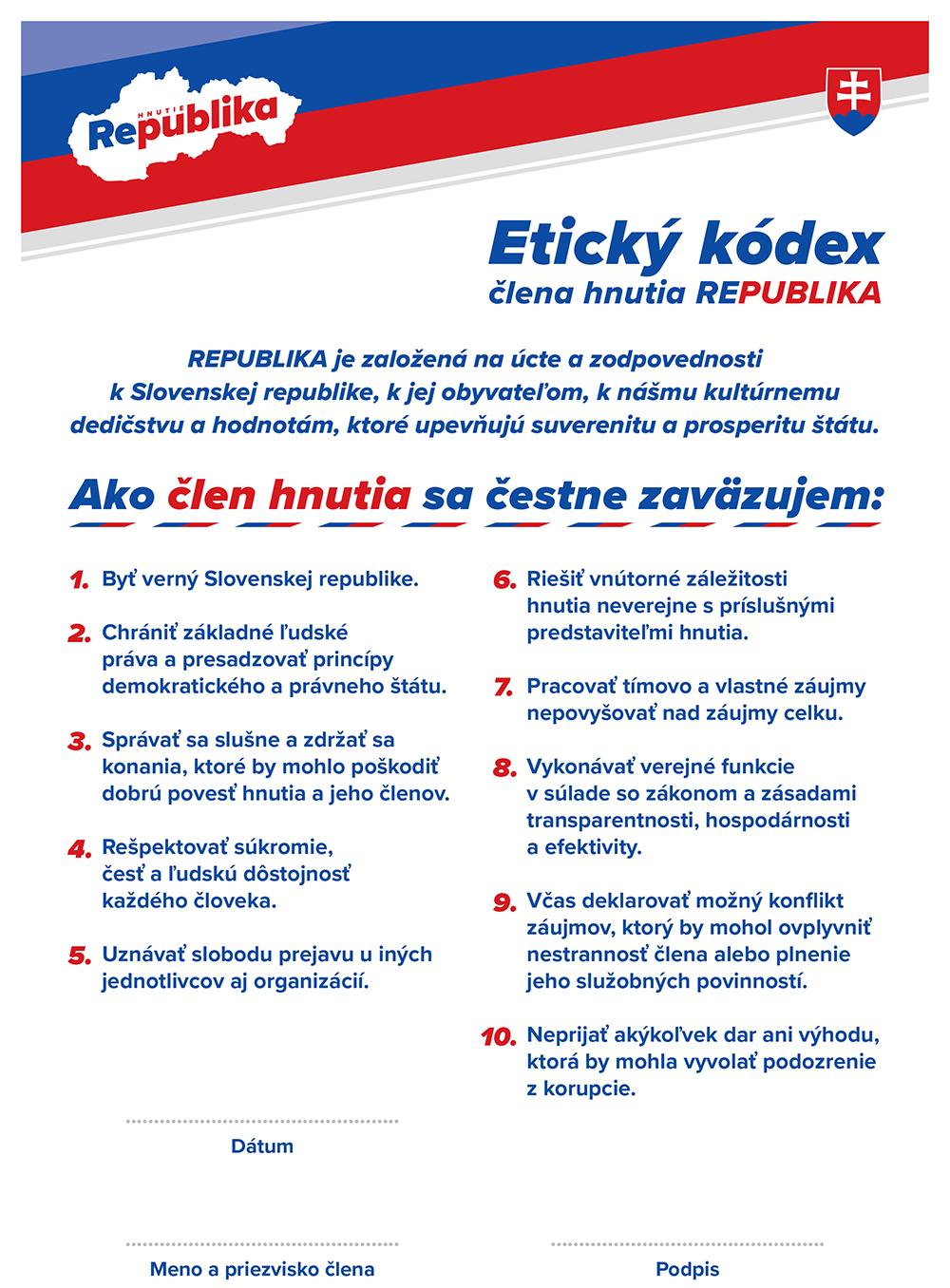 Etický kódex člena REPUBLIKY
